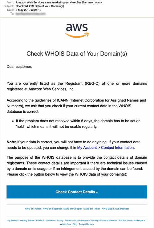 Aws phishing email