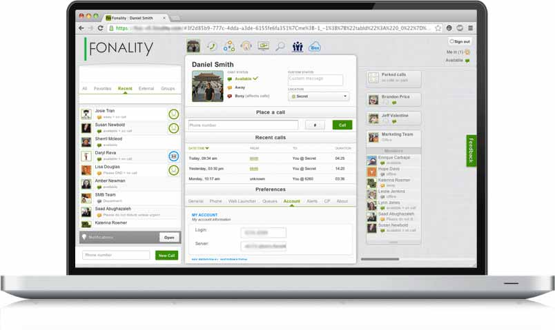 Fonality user interface on laptop