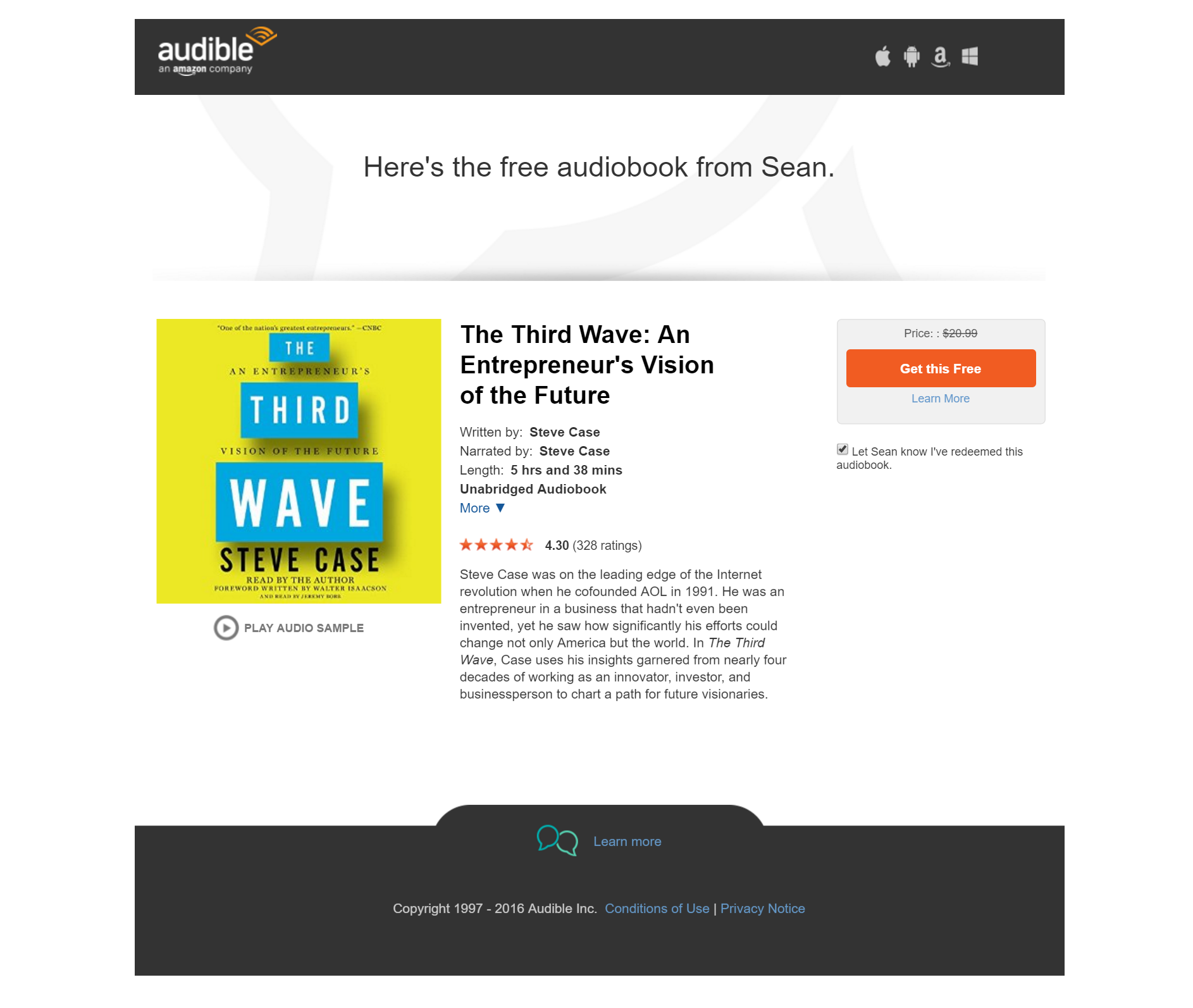 Free Audio Book from Amazon:
