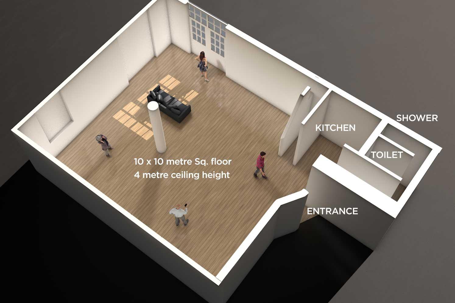 UP Studios floorplan