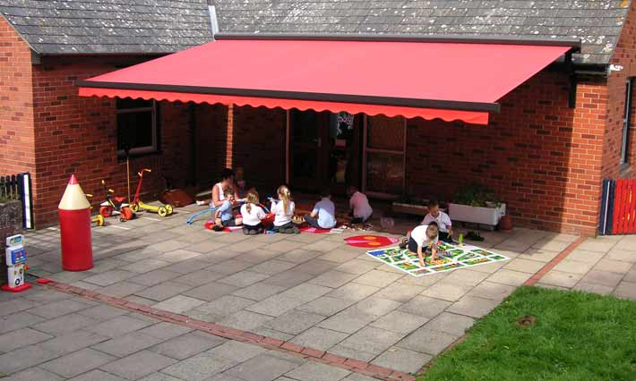 Patio awning in a school