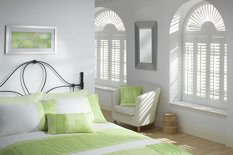 White arch shutters