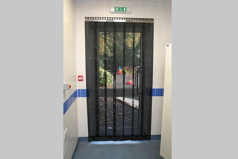 Mesh strip curtain door screen