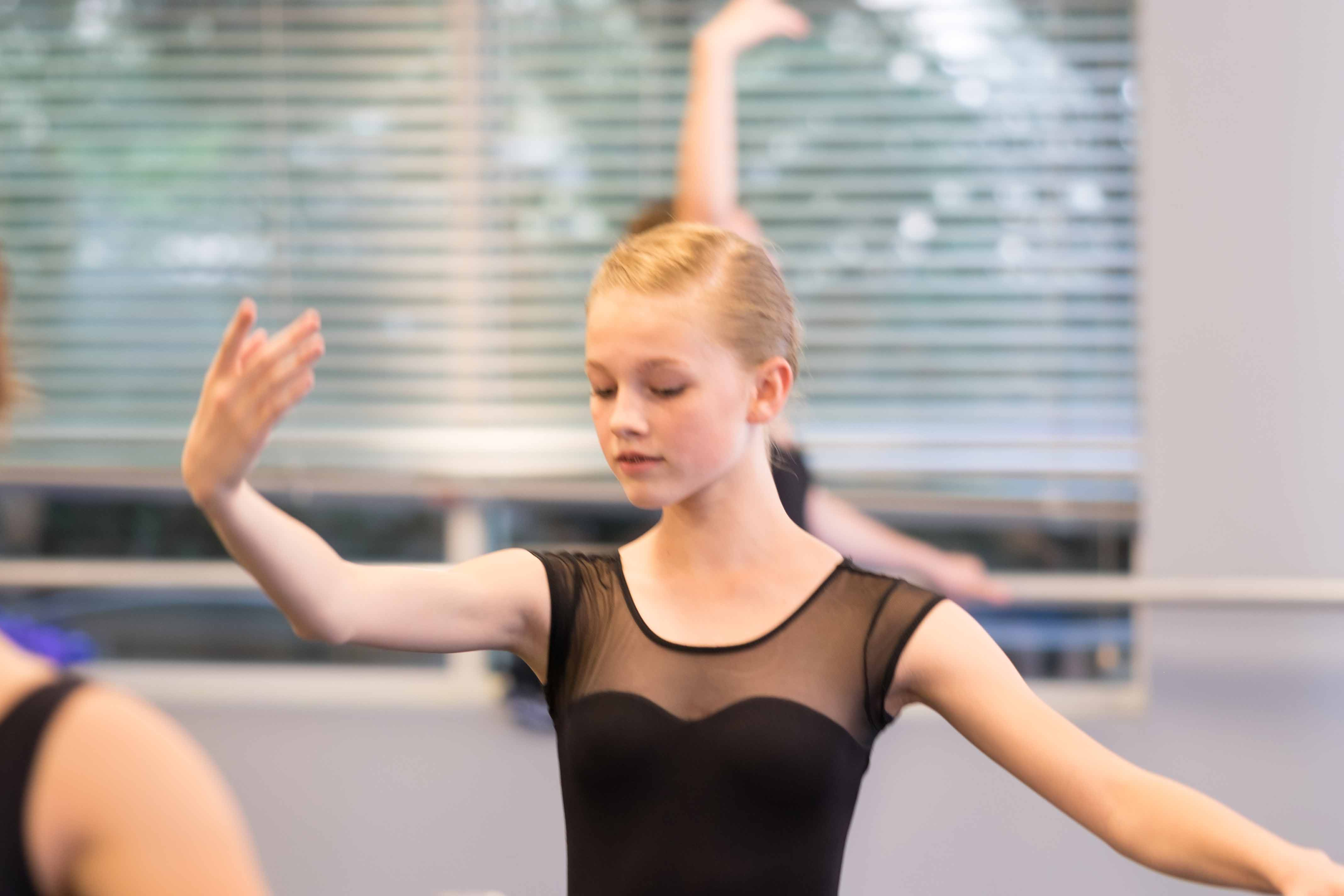 A ballet student trains at Eagle Performing Arts Center.