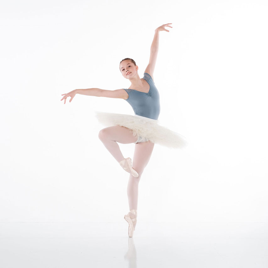 Ballerina holds a pose at Eagle Performing Arts Center.