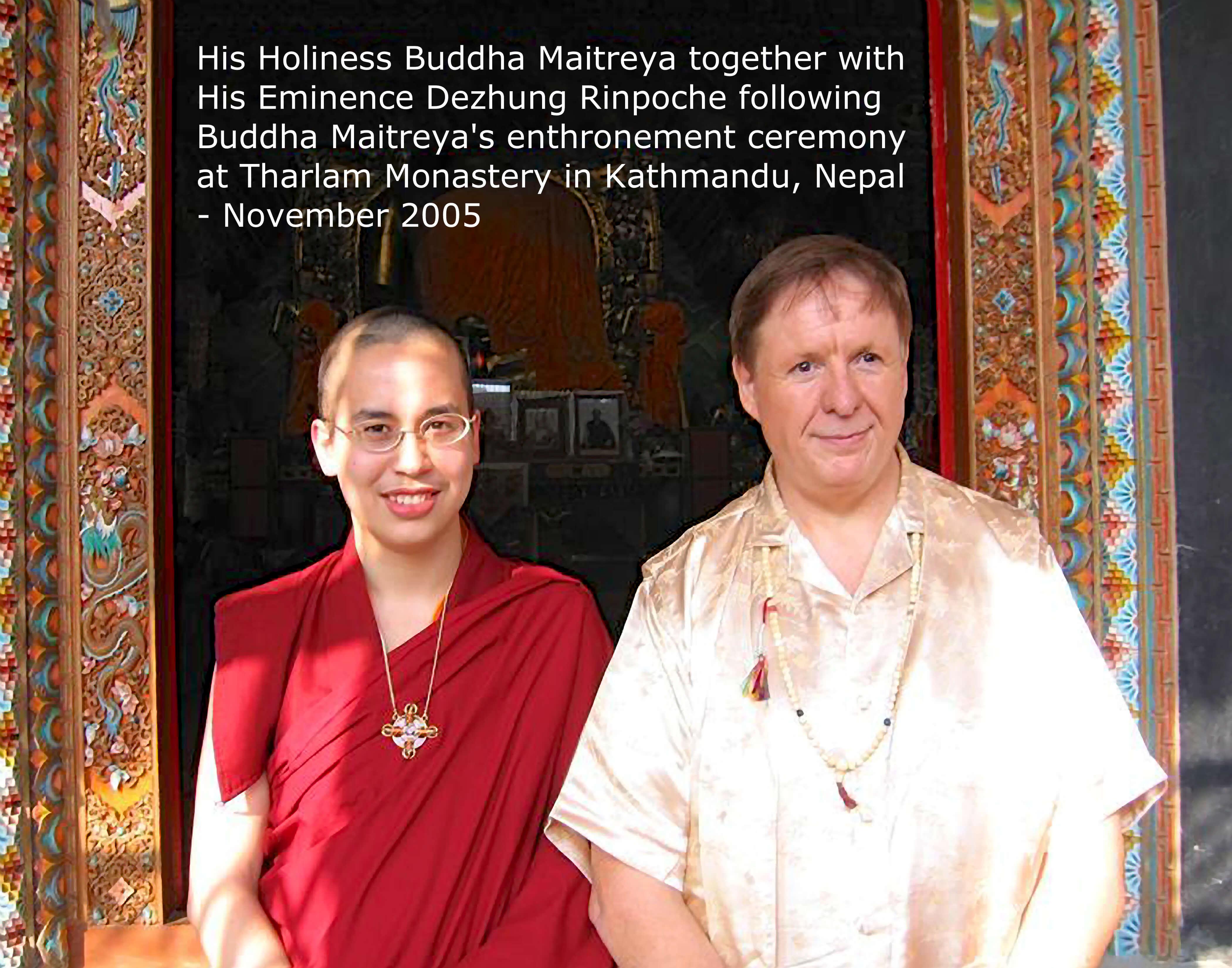 Buddha Maitreya with Dezhung Rinpoche