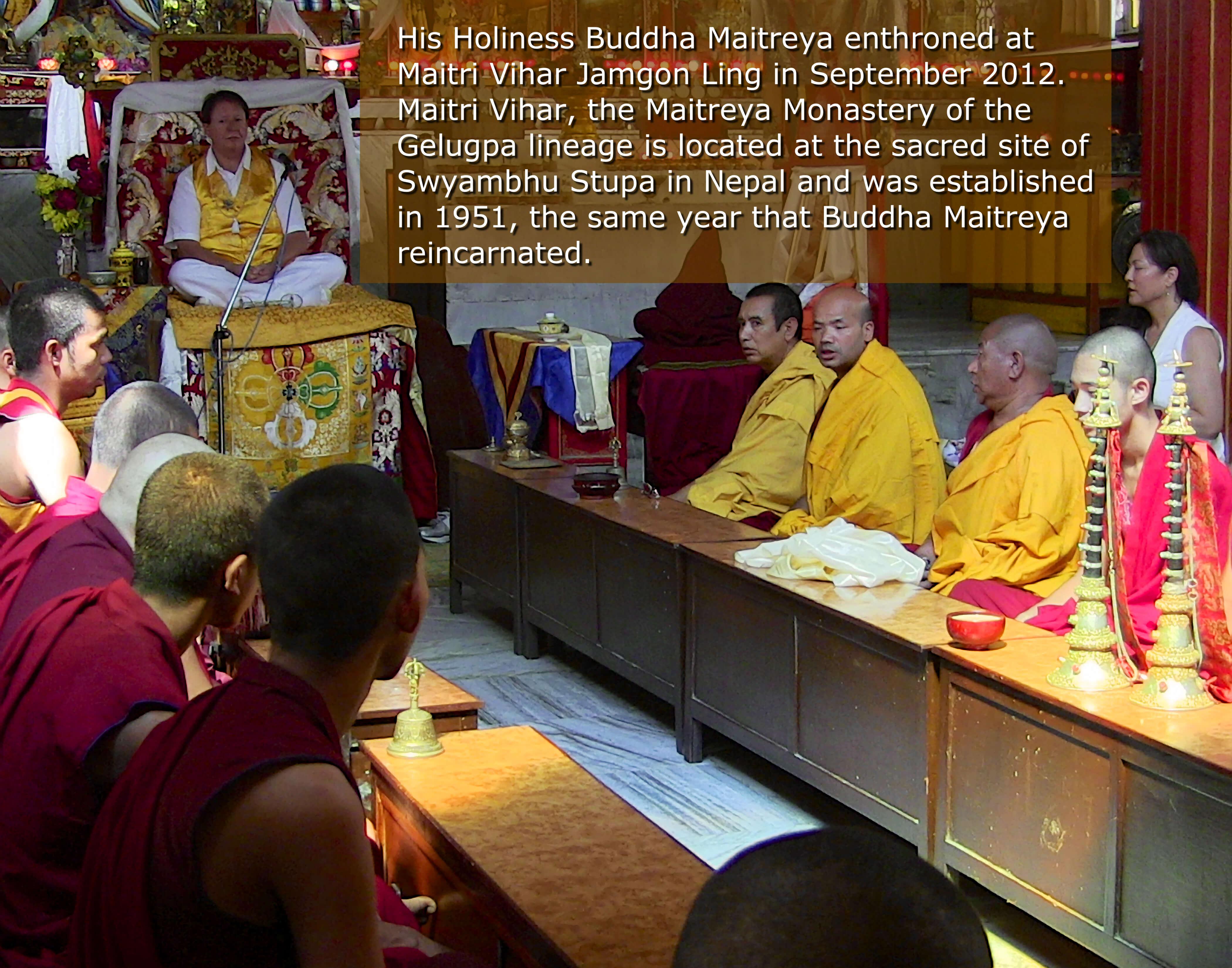 Buddha Maitreya Enthroned at Maitri Vihar