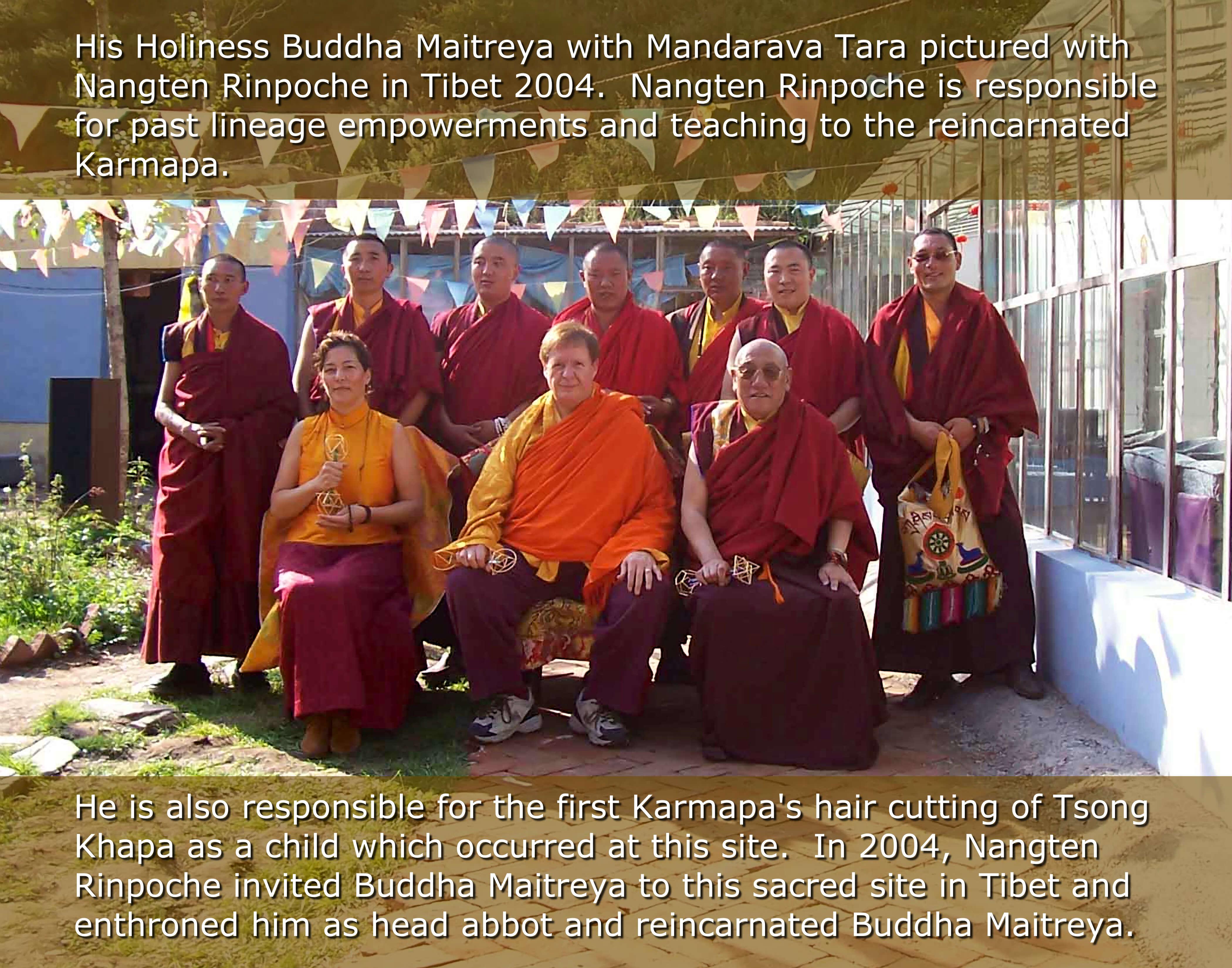 Buddha Maitreya and Mandarava Tara with Nangten Rinpoche