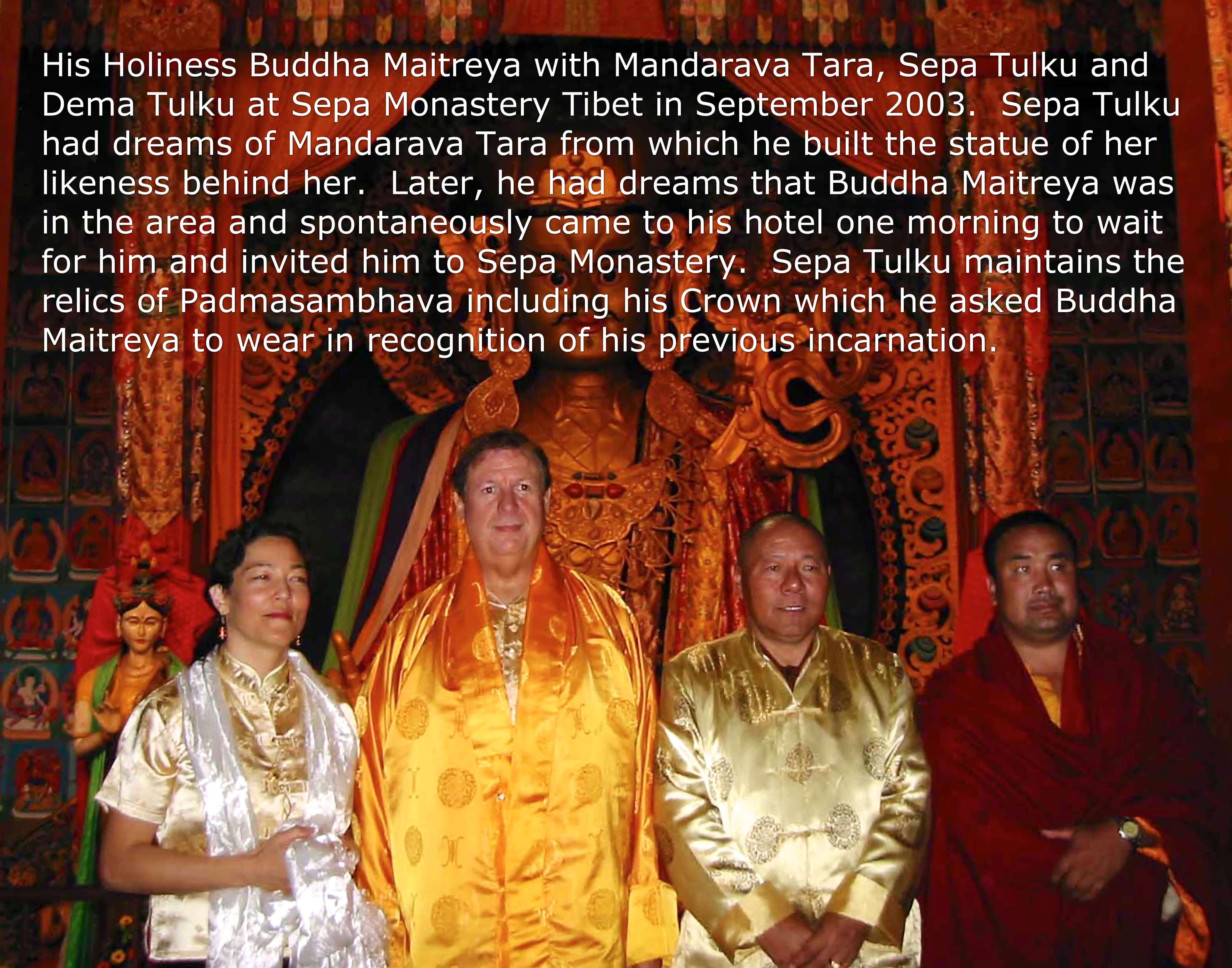 Buddha Maitreya and Mandarava Tara at Sepa Monastery