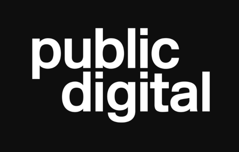 Public digital in white on black bg