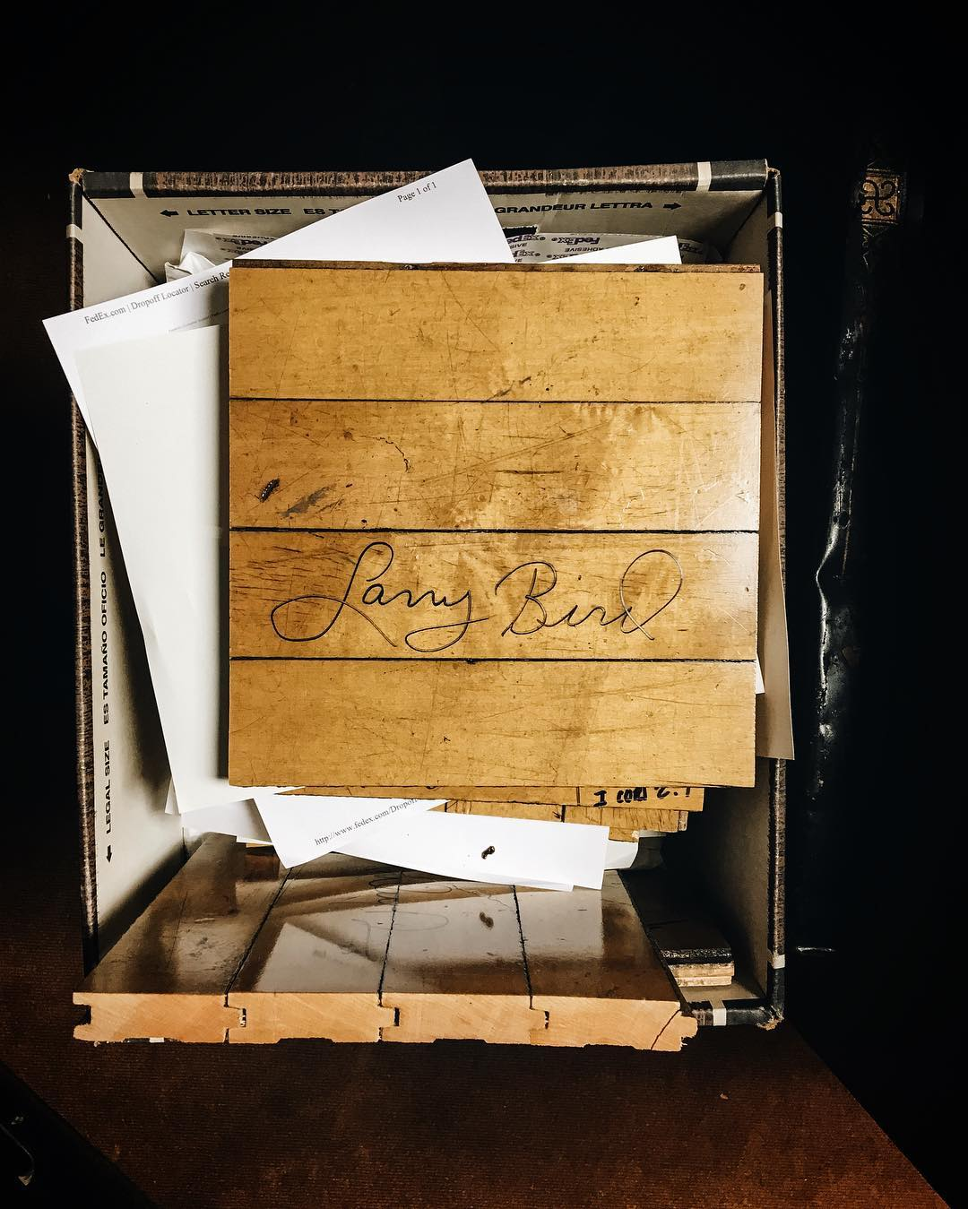 signed larry bird wooden award
