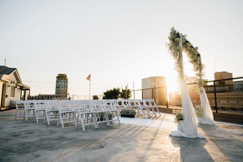 wedding ceremony rooftop la athletic club