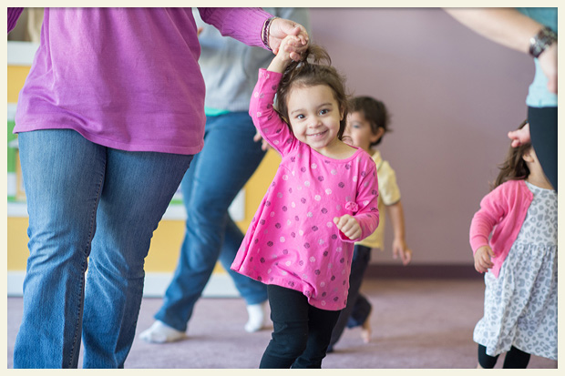 Photo of happy child at a Kindermusik class