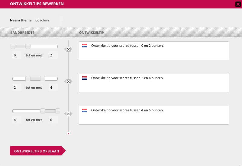 Screenshot van de beheeromgeving: bandbreedtes instellen met ontwikkeltips.