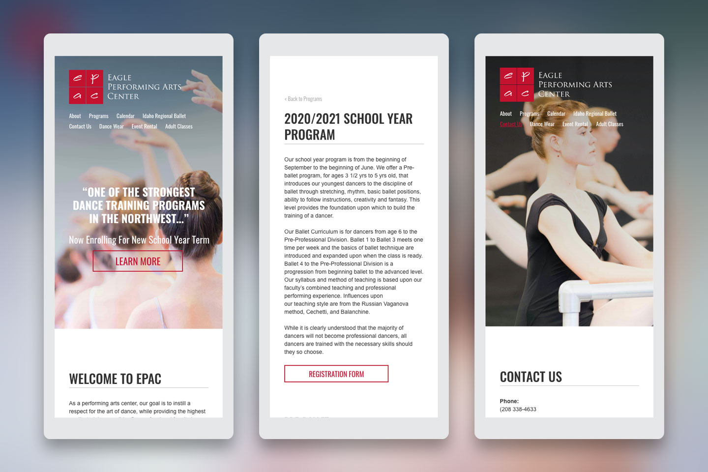 Eagle Performing Arts Center website mock-ups for mobile devices