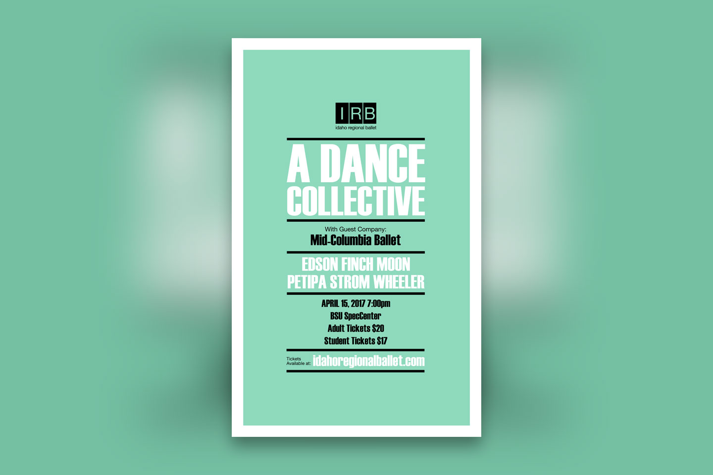 Poster design for Idaho Regional Ballet's A Dance Collective event