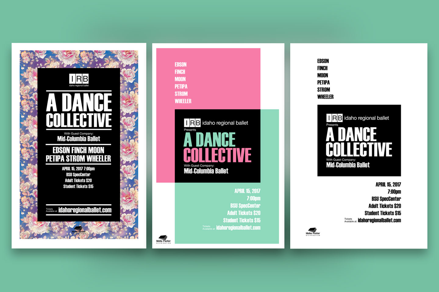 Poster design concepts for Idaho Regional Ballet's A Dance Collective event