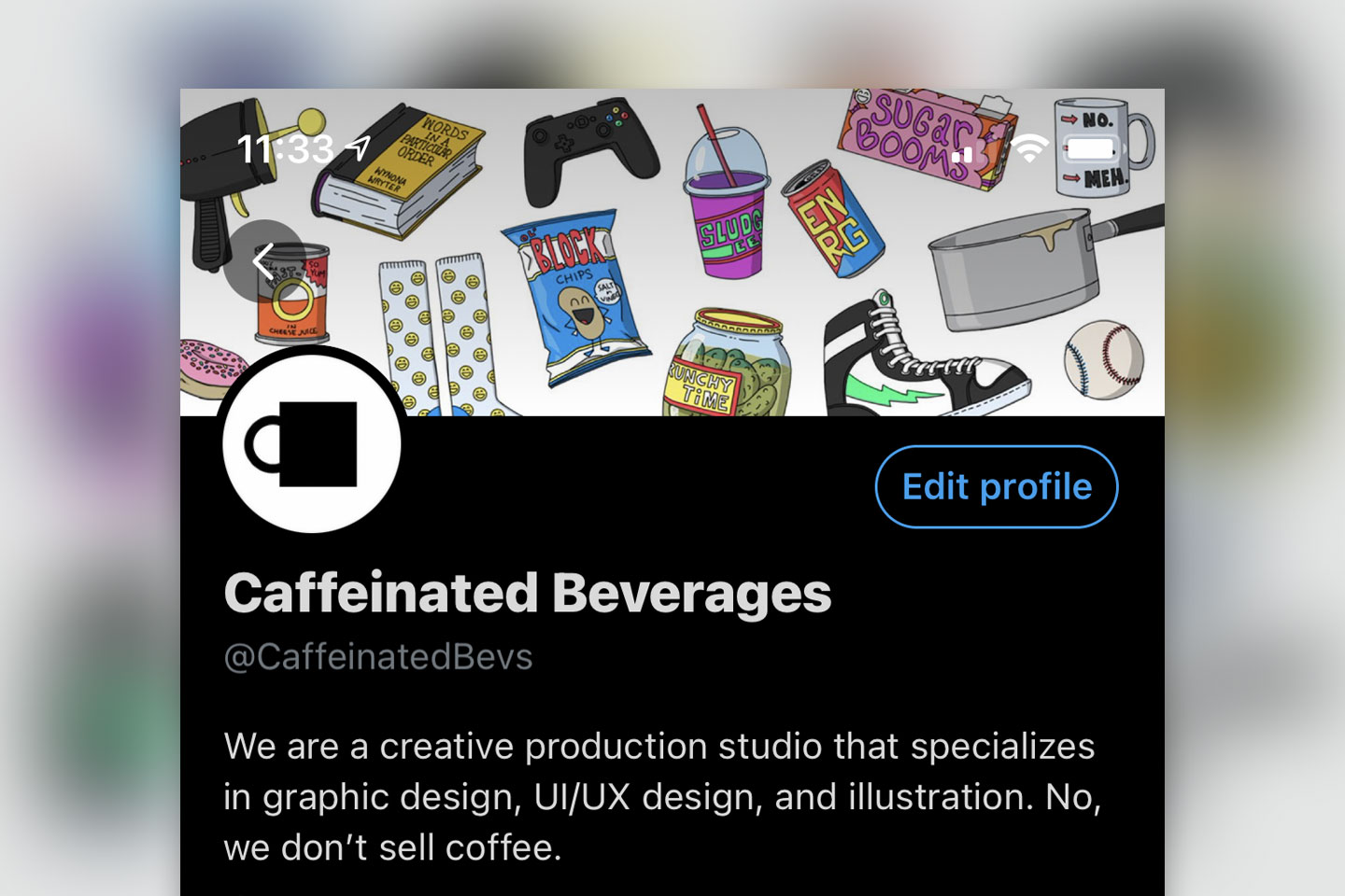 An example of the Caffeinated Beverages Twitter header graphic