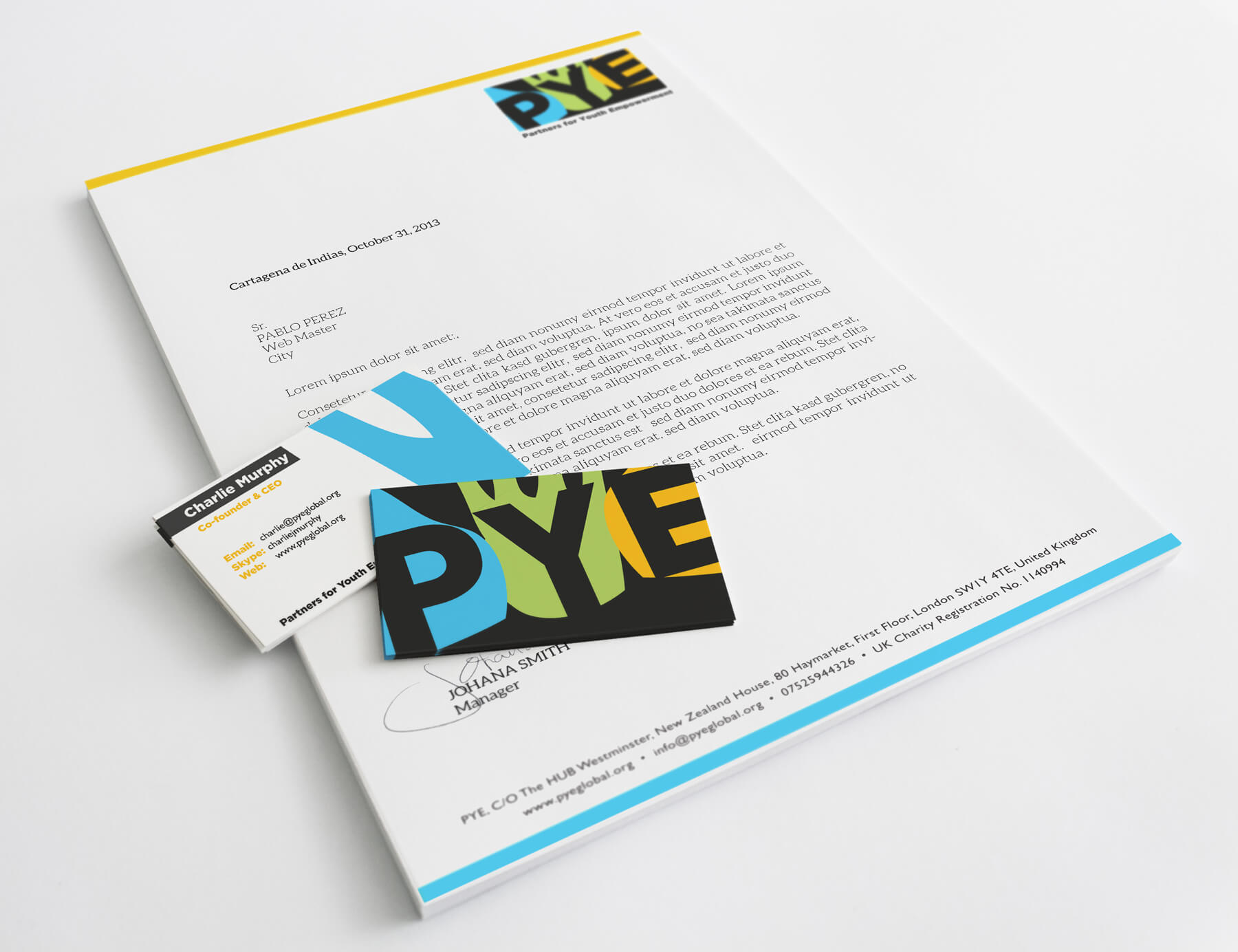 PYE business card