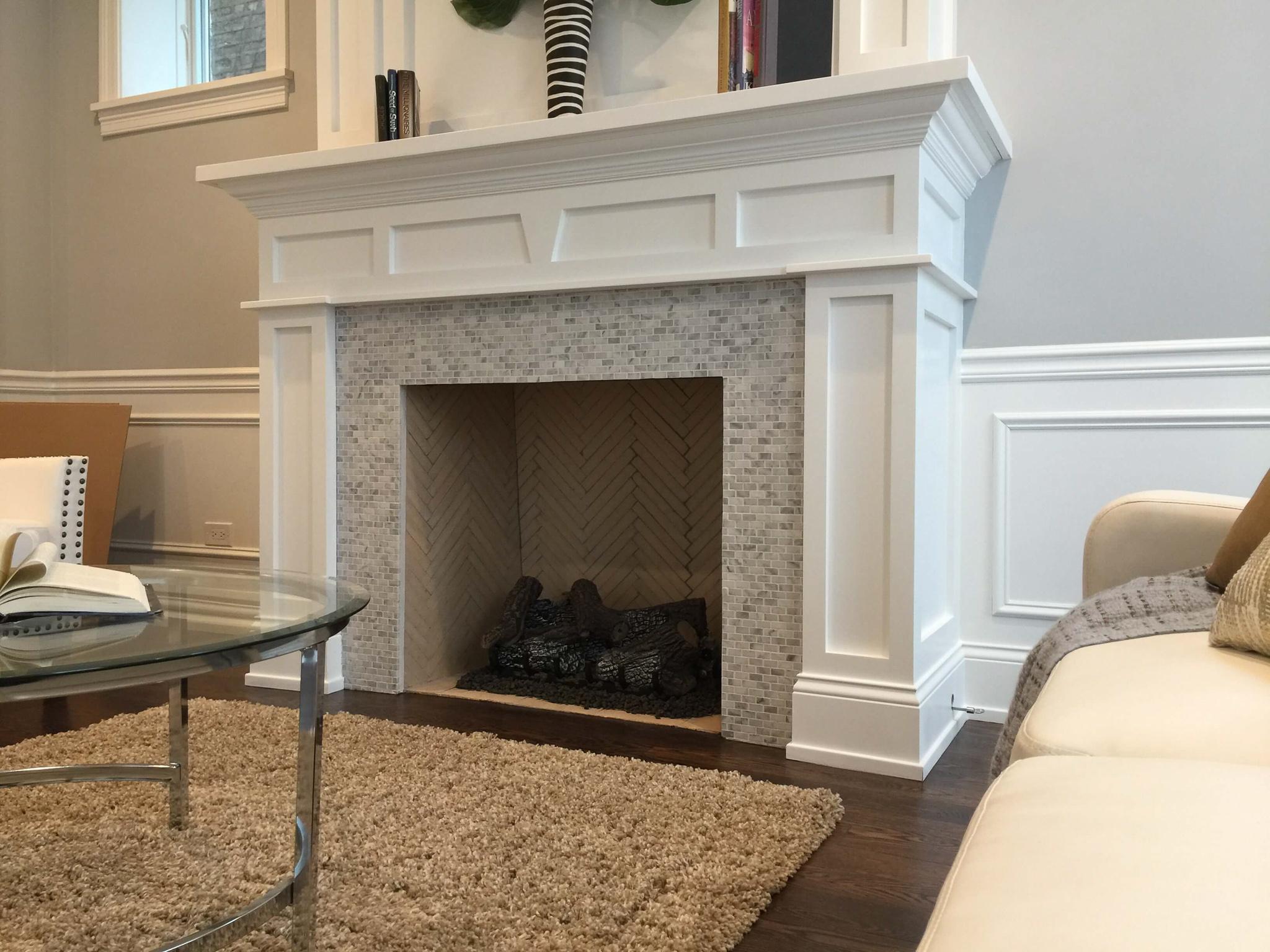 Fireplace (Mosaic Tile Surround, Brick Herringbone Firebox)