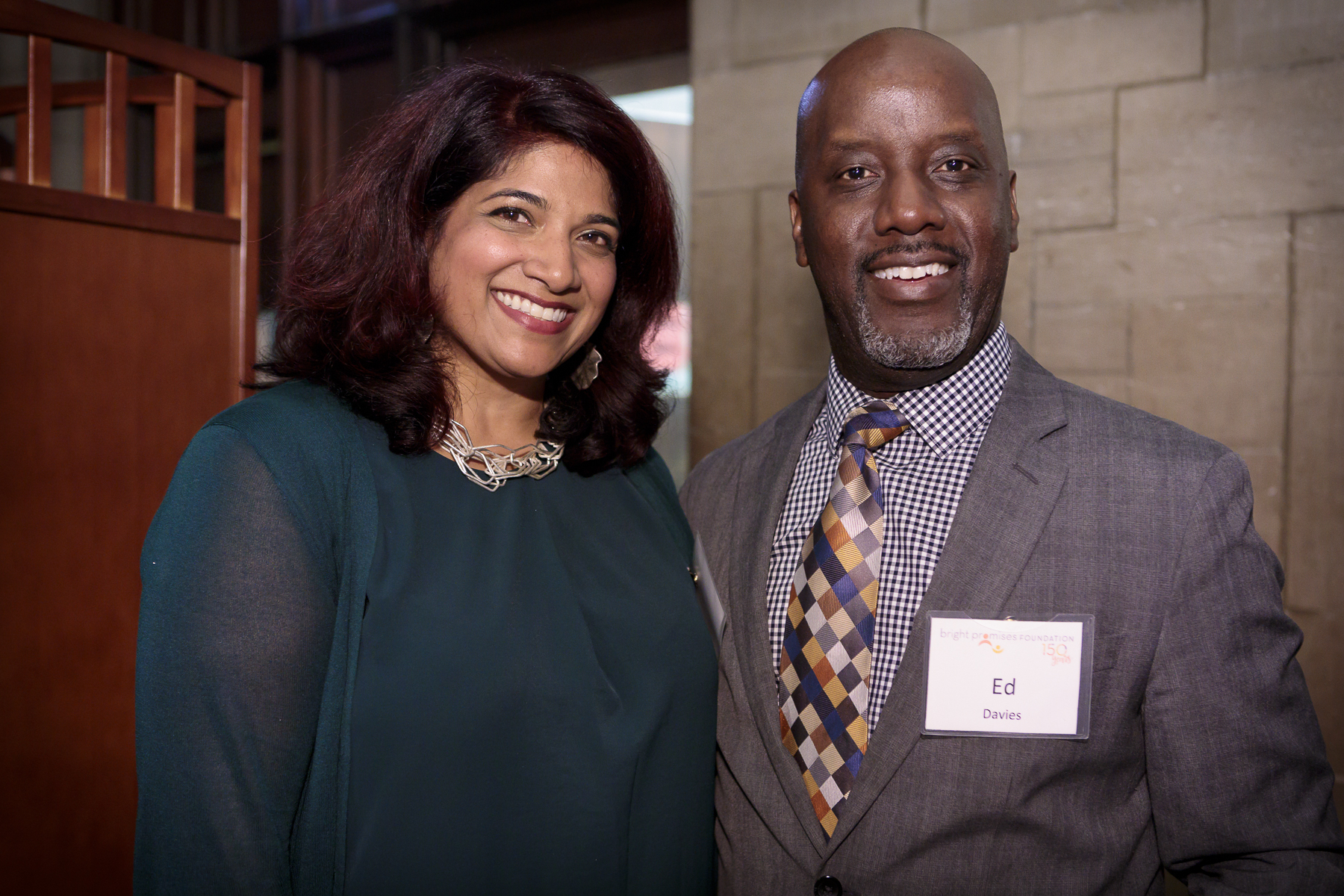 Bright Promises Foundation Board Director Ed Davies (right) with Bright Promises Program Officer Shilpa Bavikatte (right).(Photo by Stephen J. Serio Photography)