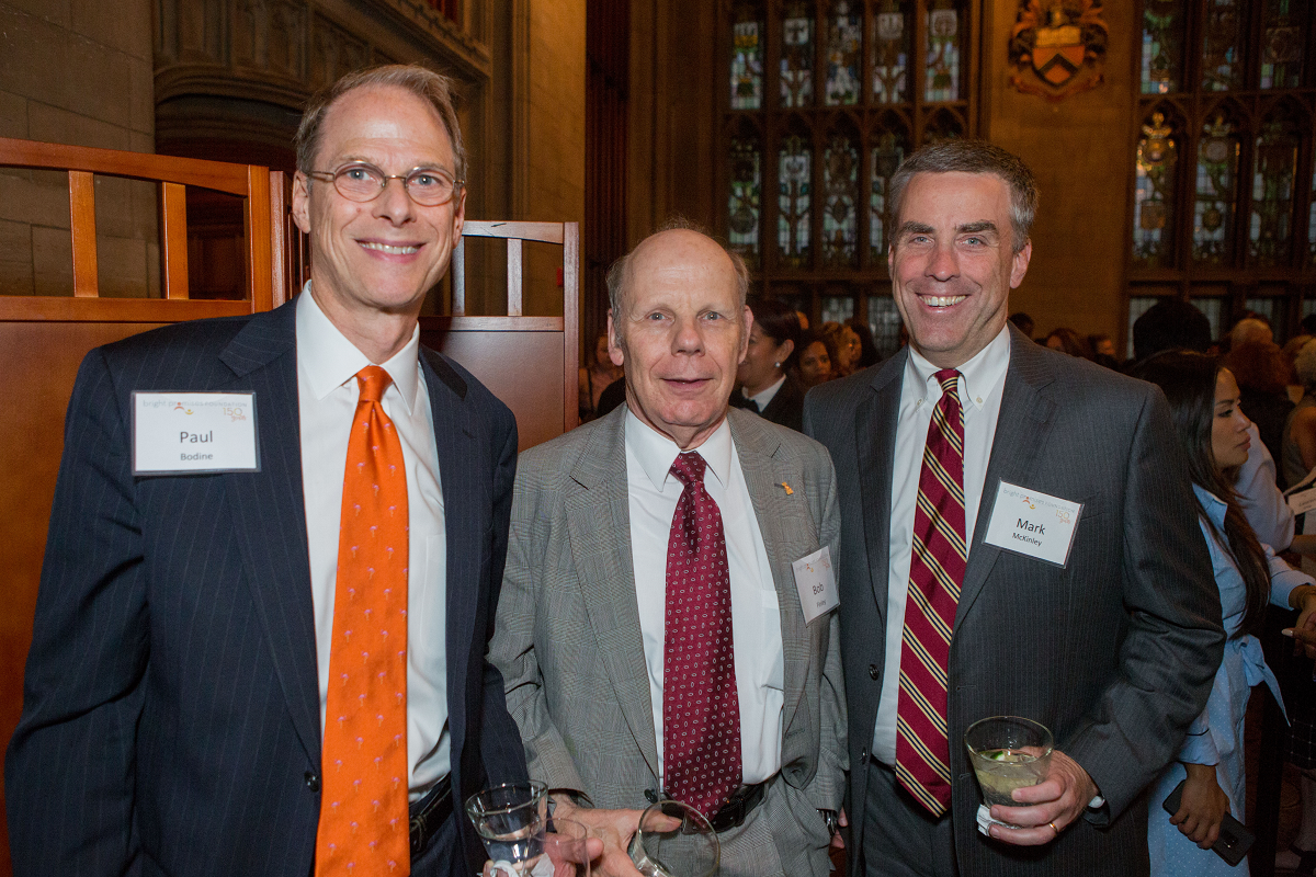 Mark McKinley (right), Senior Wealth Advisor at William Blair, with Bright Promises Foundation Board Director Robert Finley (center) and Former Bright Promises Foundation President Paul Bodine (left). (Photo by Pablo Poncee)