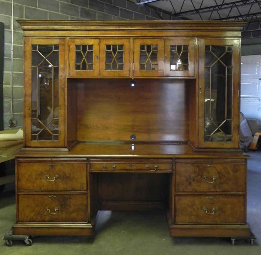 Burl desk with built in bookcase work station