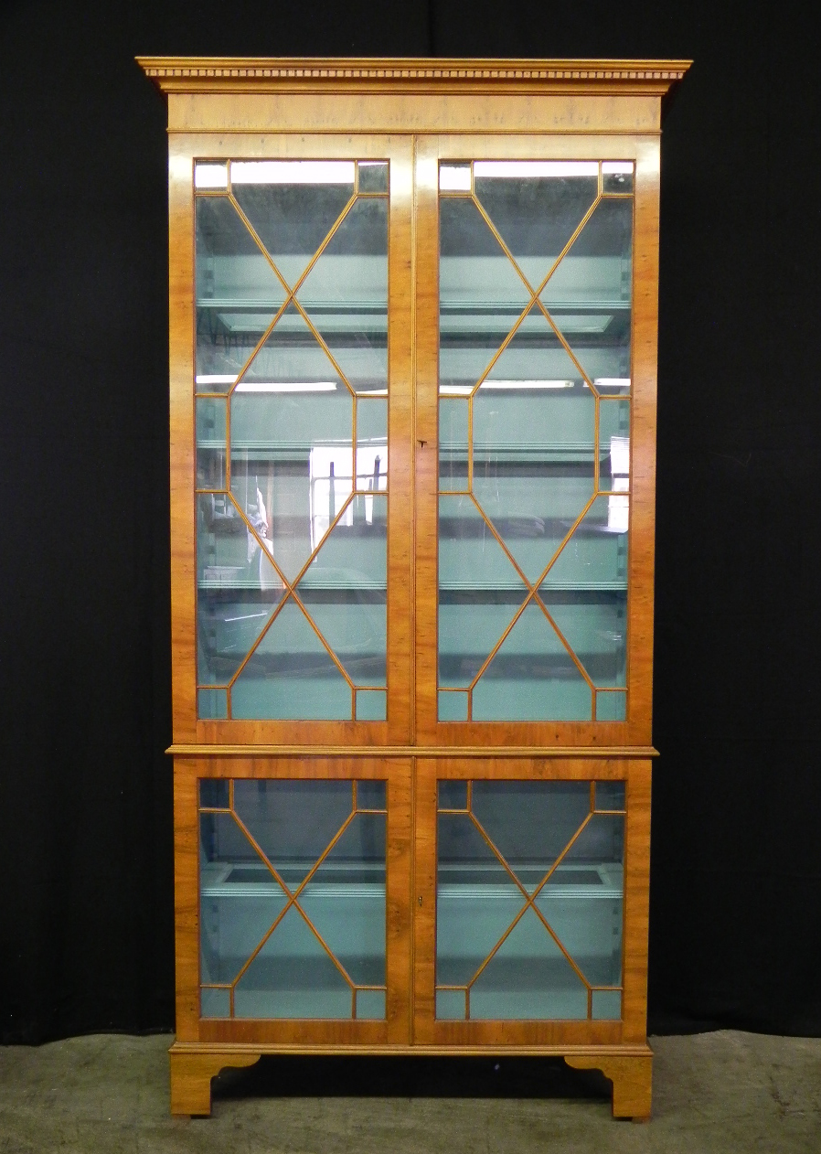 Yew wood display cabinet with blue painted interior