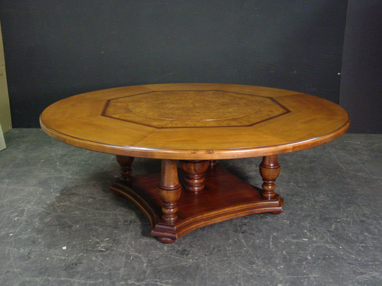 Custom built in lazy susan round dining table