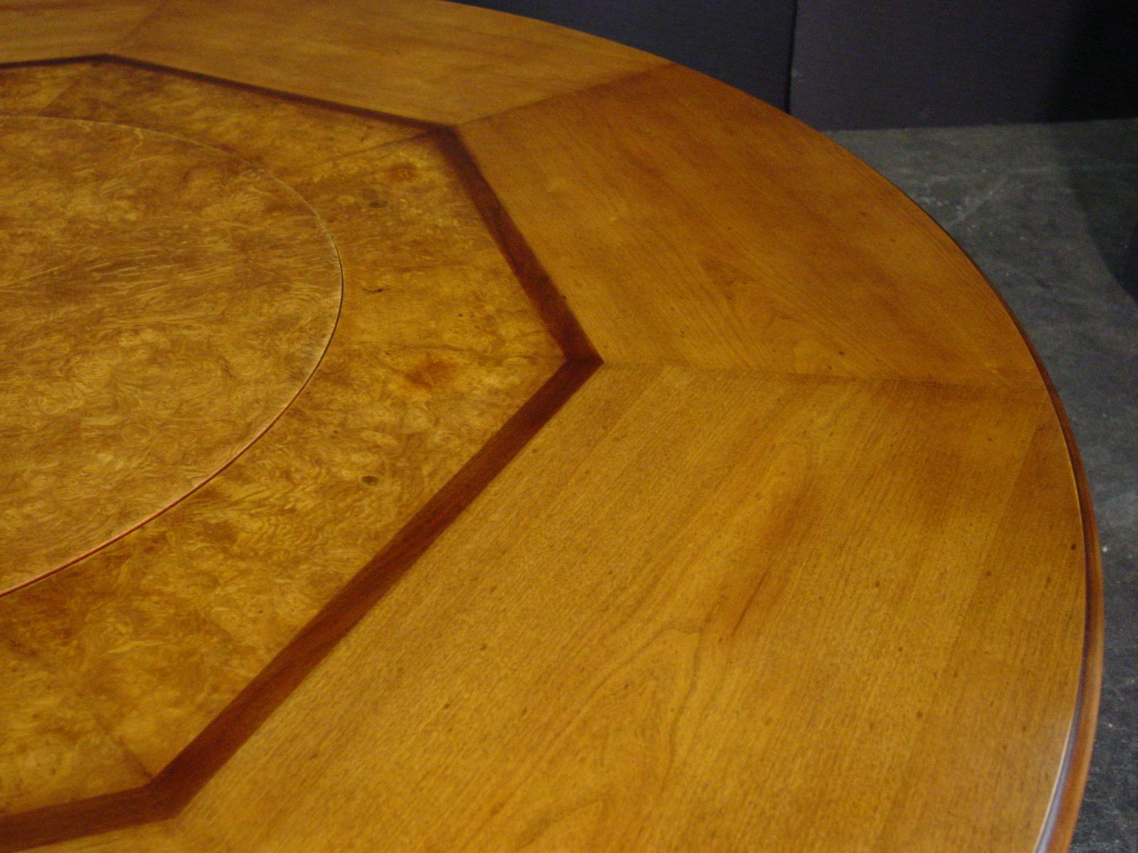 Custom table top detail with burl builtin lazy susan