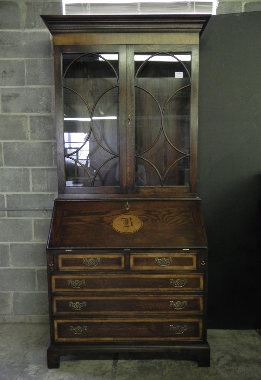 Custom inlaid bureau bookcase with the initial B