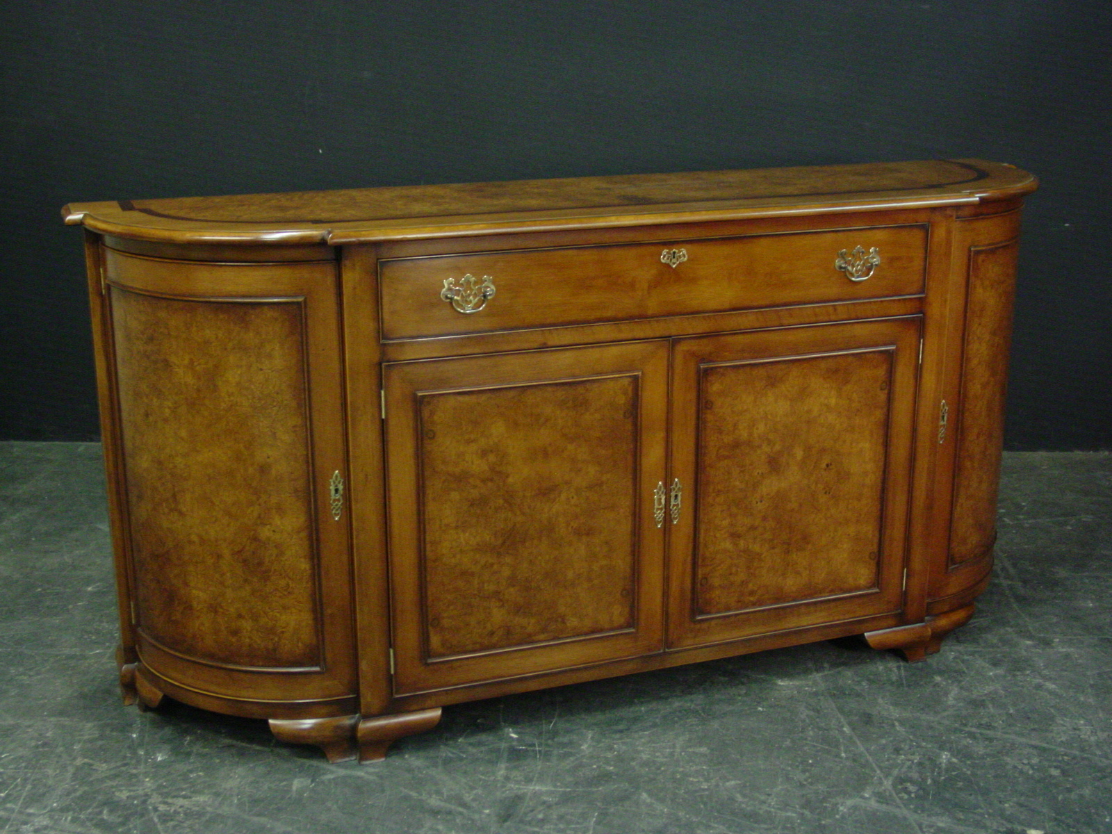 Burl walnut custom made sideboard with rounded ends