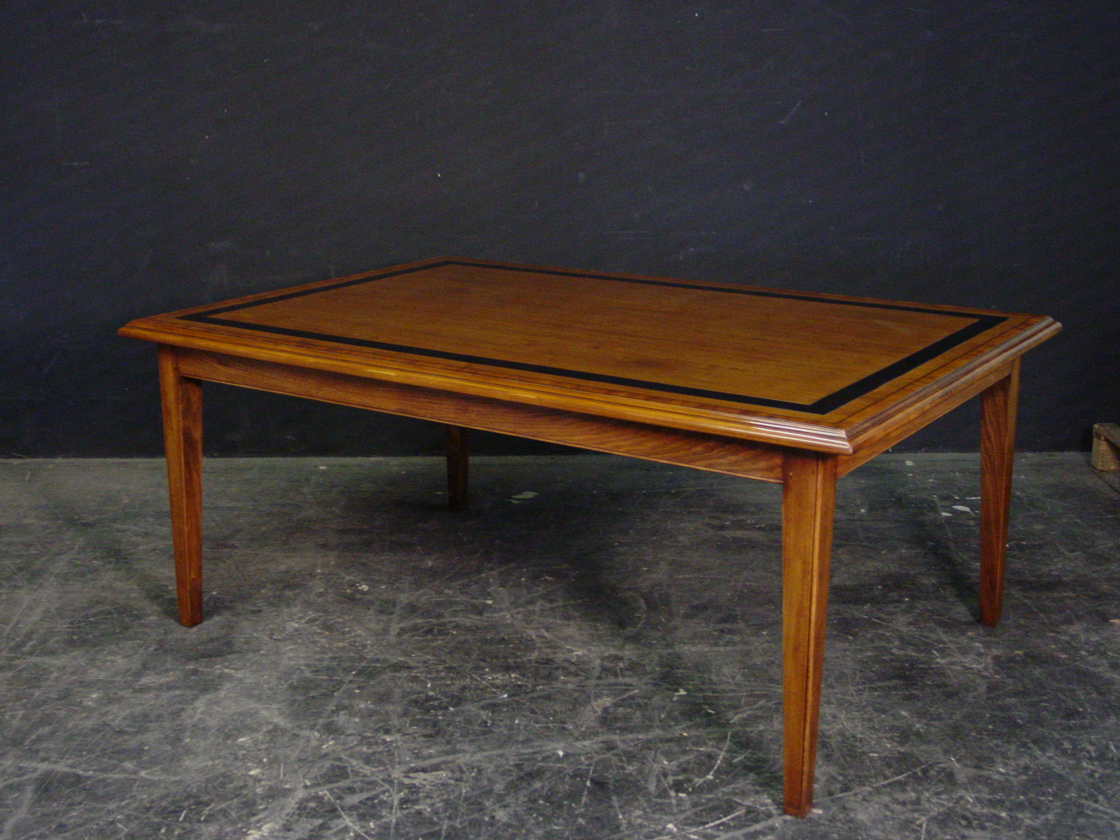black etched inlaid farmhouse table