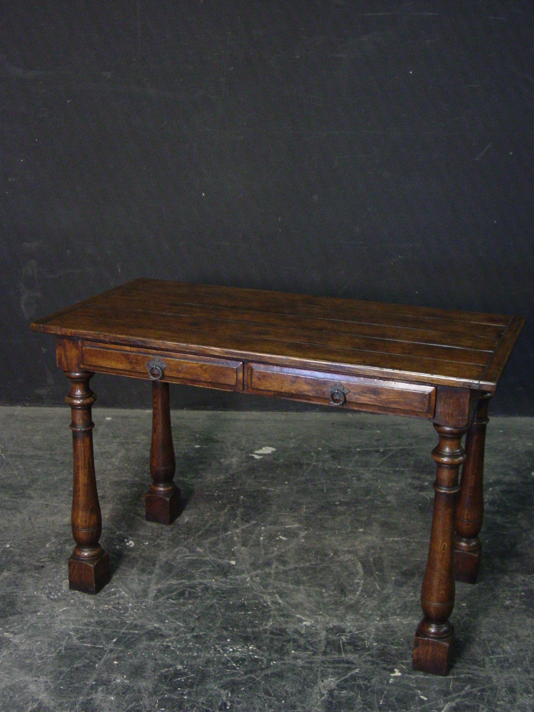 Rustic oak 2 drawer small side table