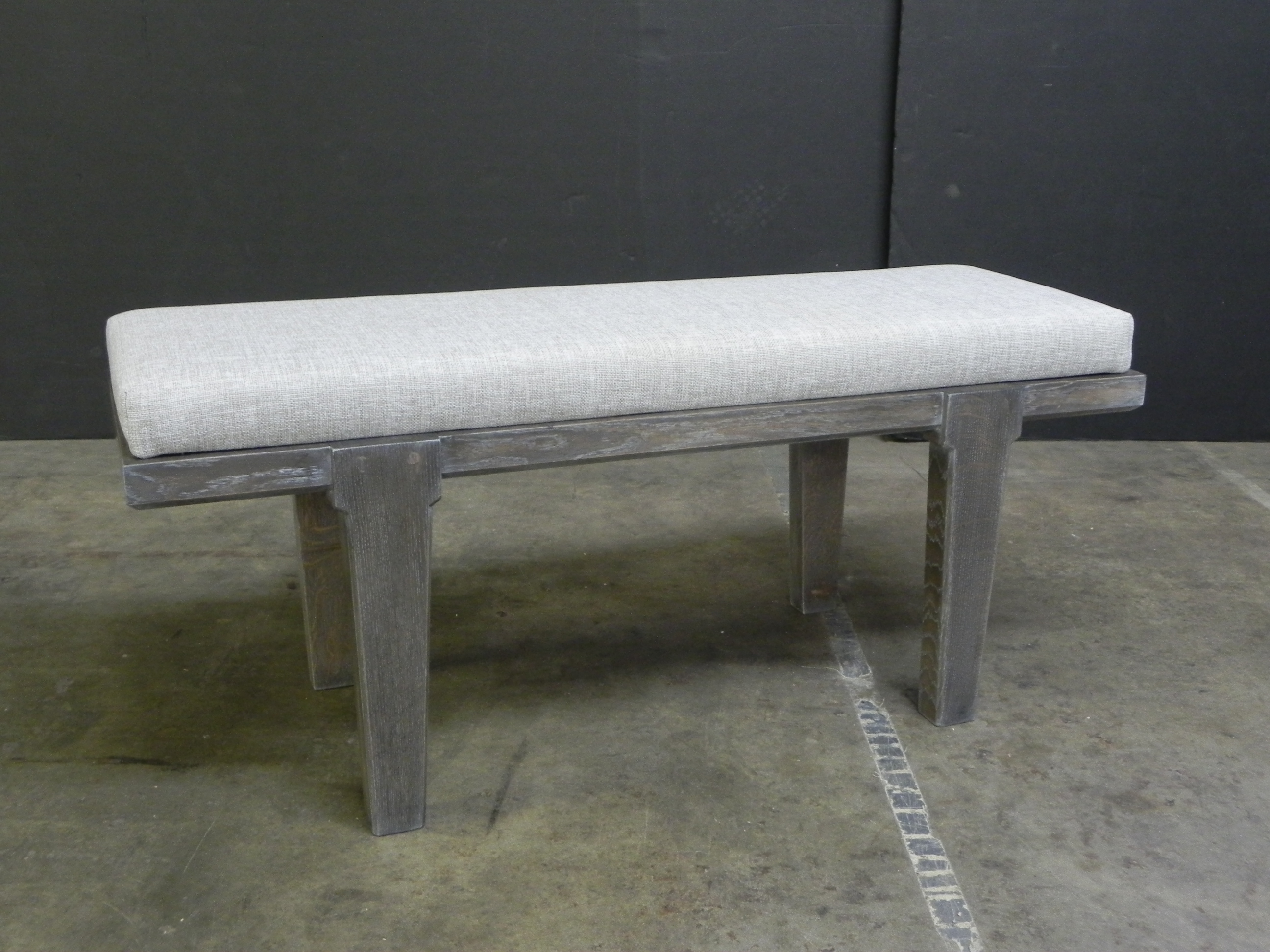 bench with upholstered cushion
