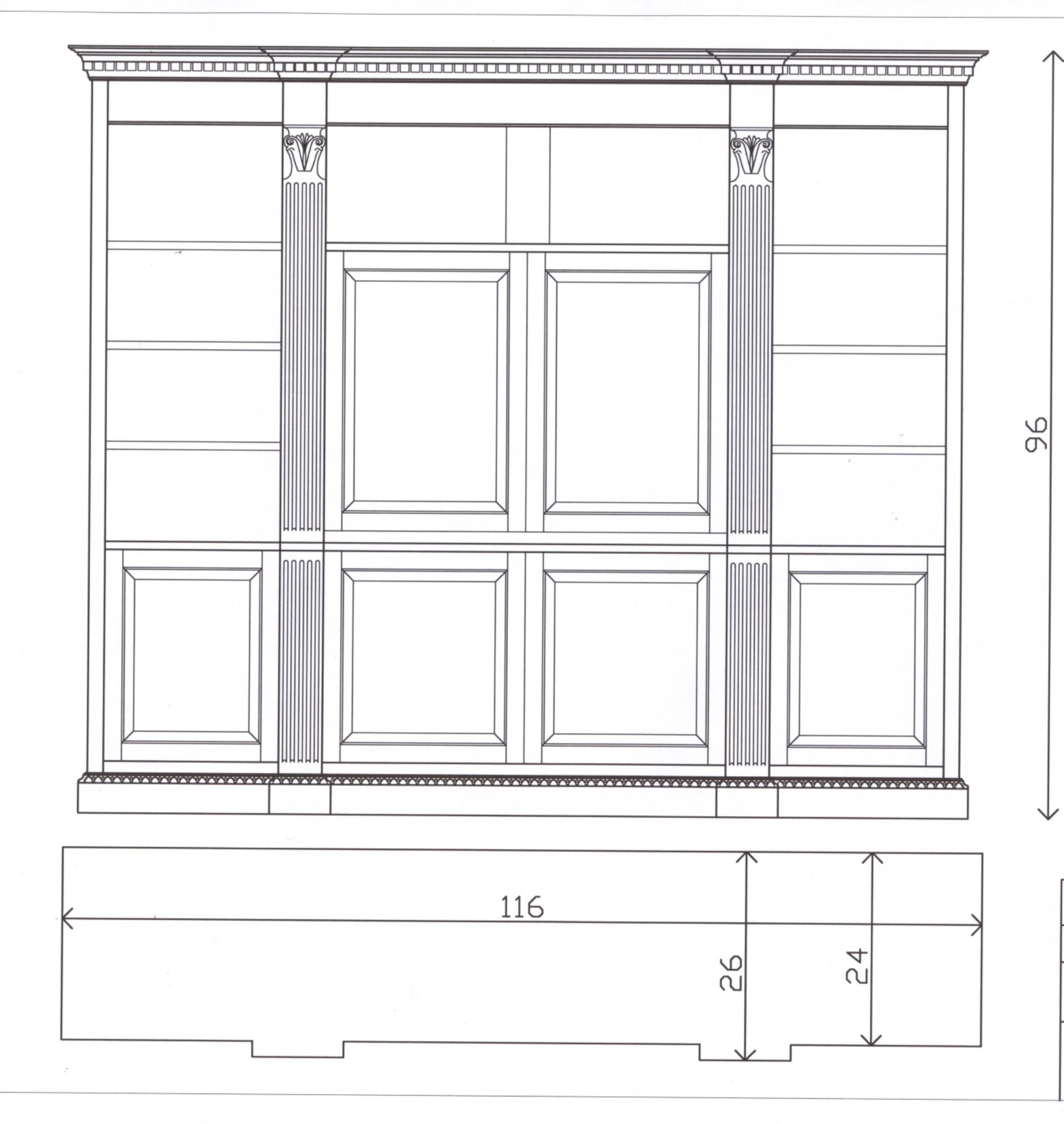 Sketch of a custom bookcase