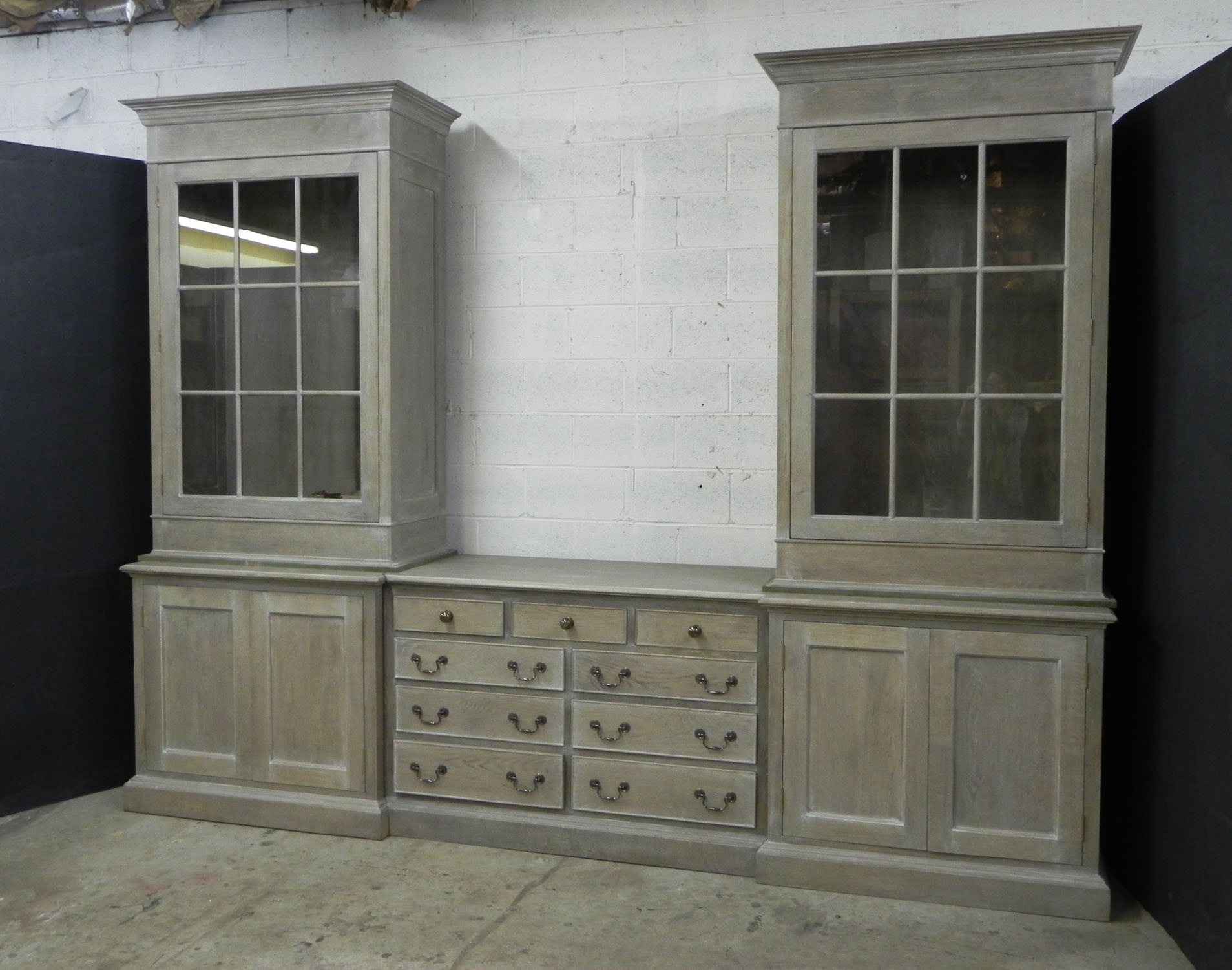 Custom oak cabinet display and sideboard for dining room
