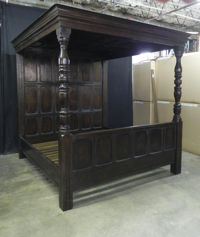 Custom built oak panel back and footboard 4 poster bed