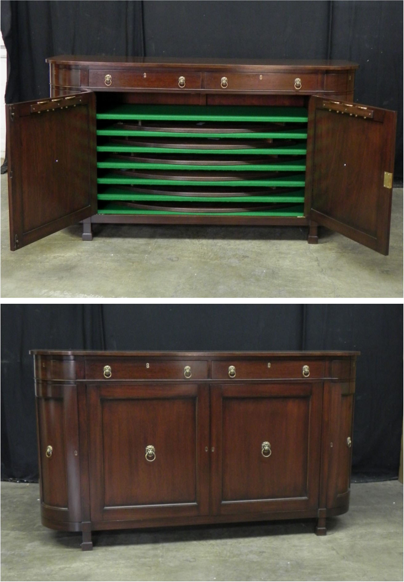 Custom mahogany sideboard for storing table leaf extensions