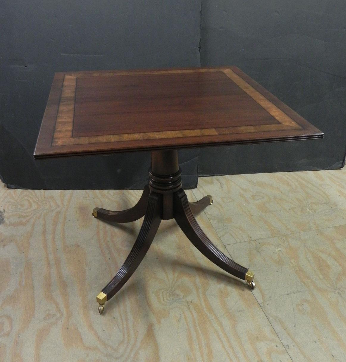 Custom square mahogany pedestal table