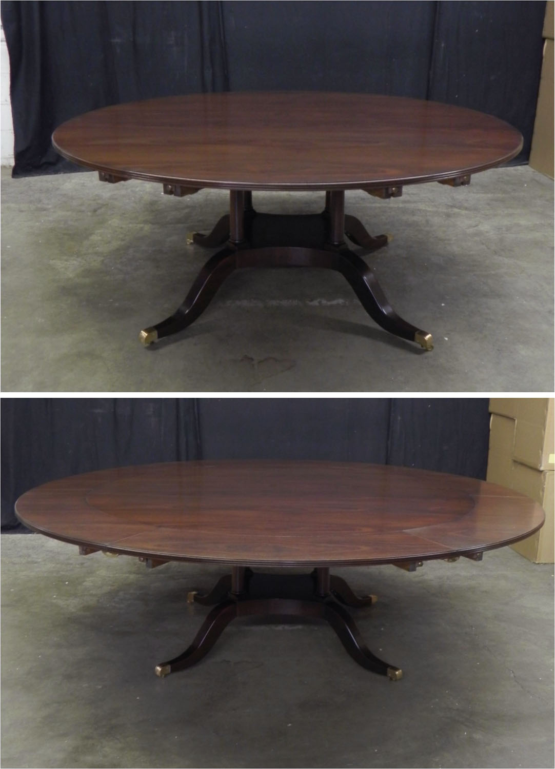 Custom outer leave mahogany dining table