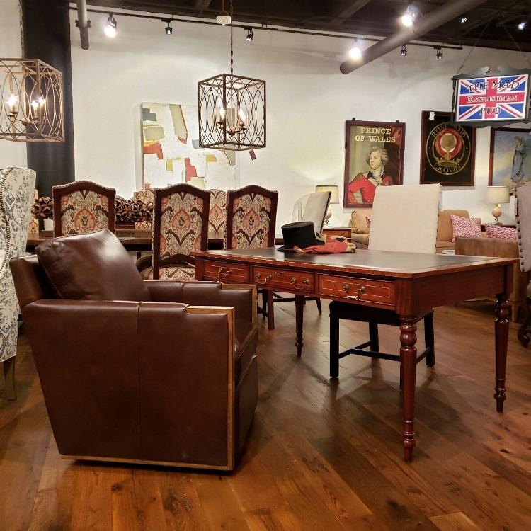 Mahogany leather top turned leg writing desk
