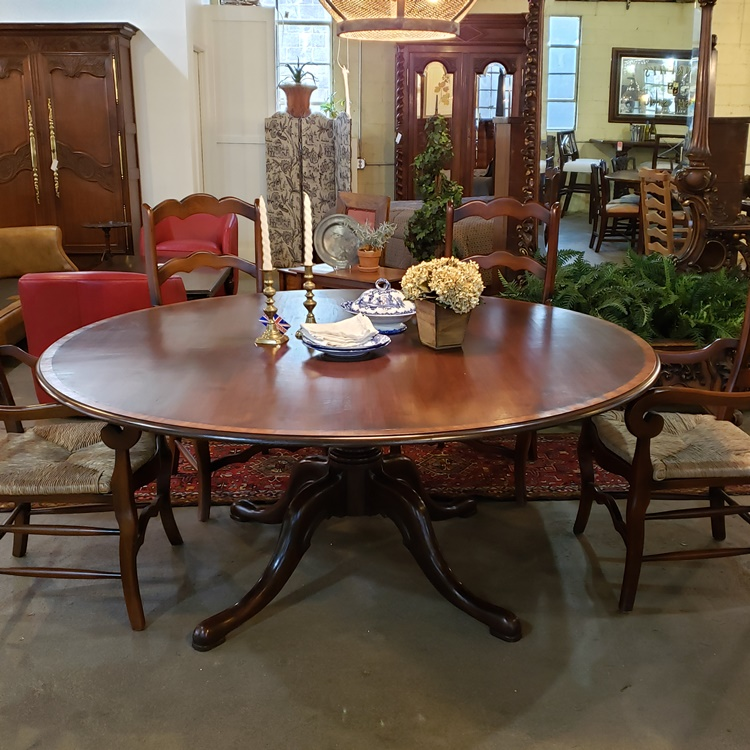 """72"""" round dining table with C scroll pedestal"""