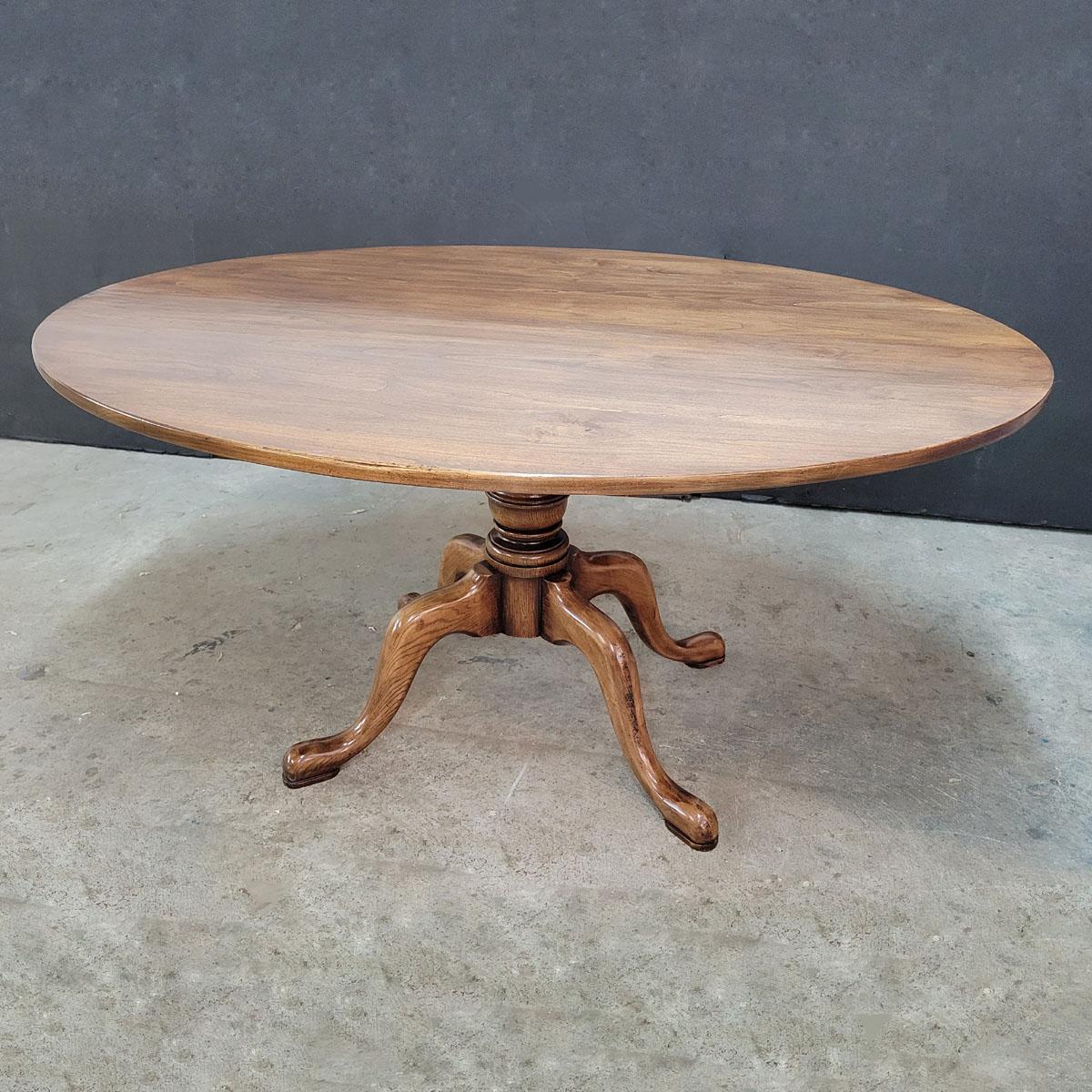 Custom built oval top pedestal dining table