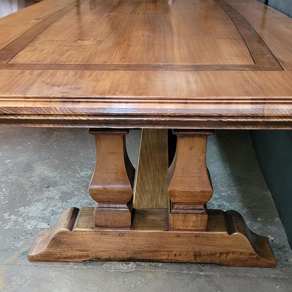 Custom cherry finish baluster base refectory table