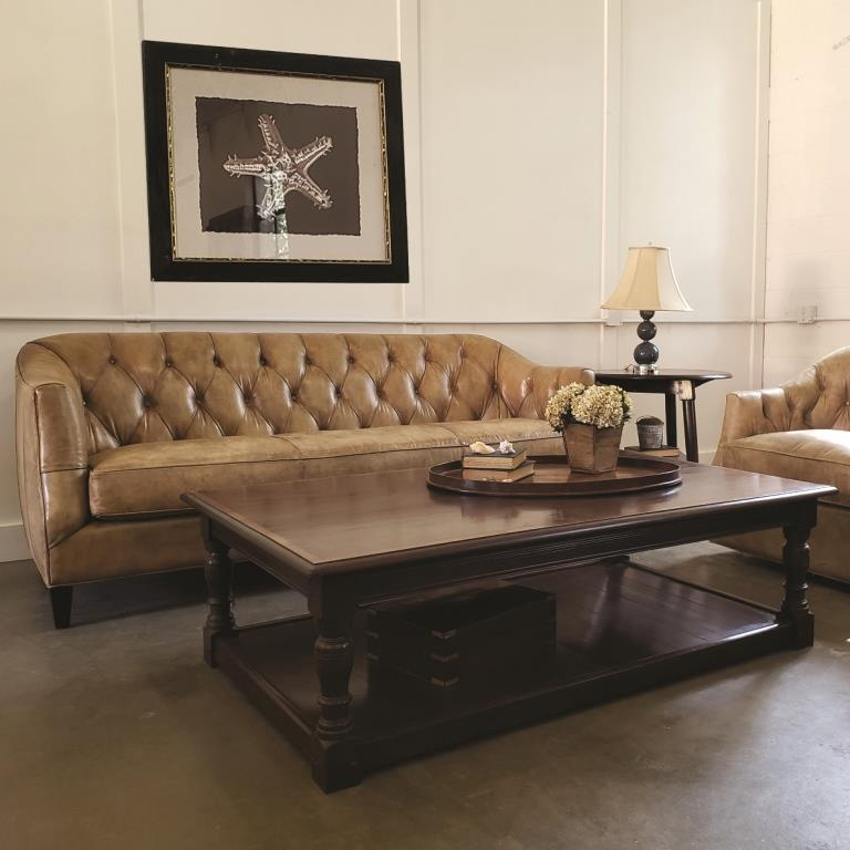 Luna button tufted sofa and coffee table