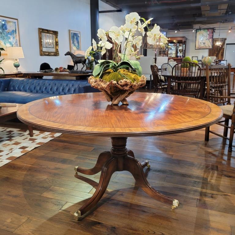 """Oak, banded 60"""" round pedestal table"""