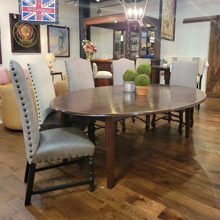 Cherry, yew banded tapered leg dining table and upholstered dining chairs