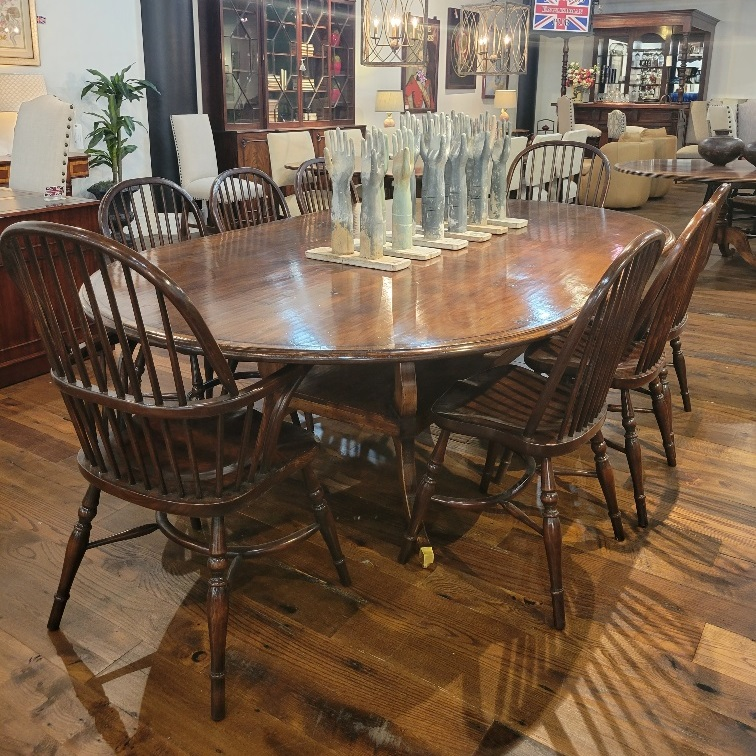 Racetrack top dining table with quad leg potboard base paired with our Windsor chairs