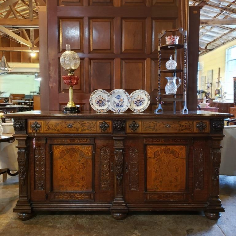 Antique inlaid and carved sideboard